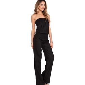 YOUNG FABULOUS & BROKE Gray Linen Jumpsuit Small